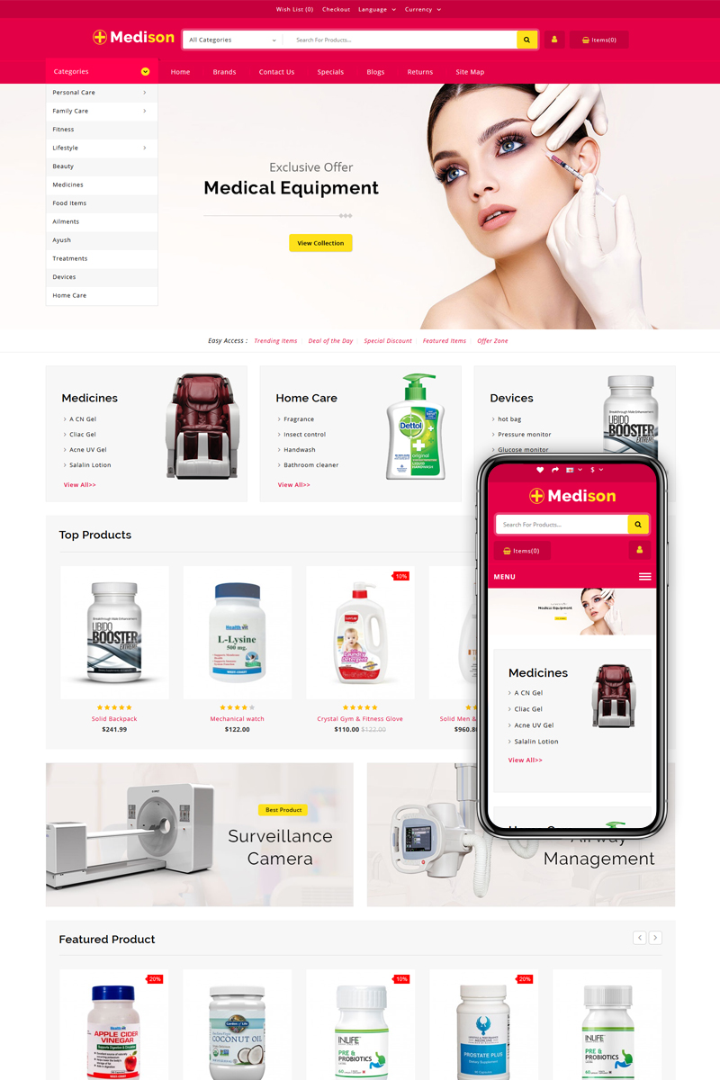 Medison - Drug Store OpenCart Template