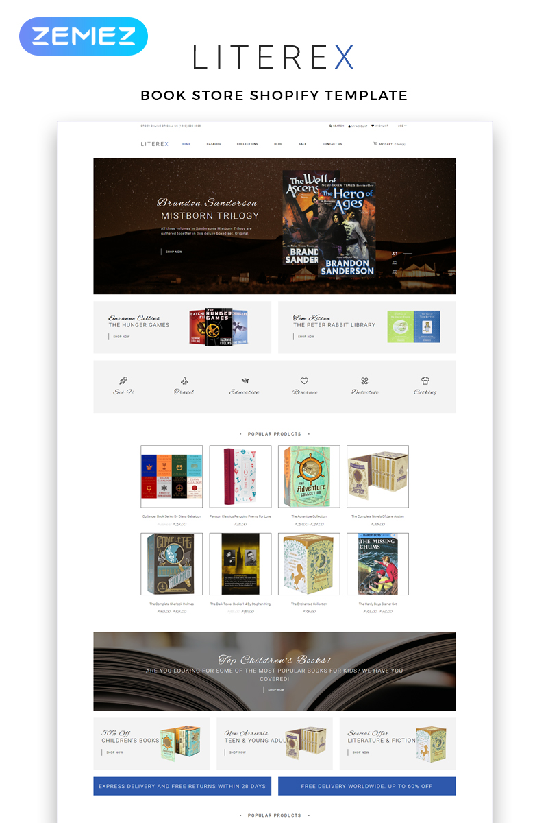 Literex - Book Store Shopify Multipage Shopify Theme