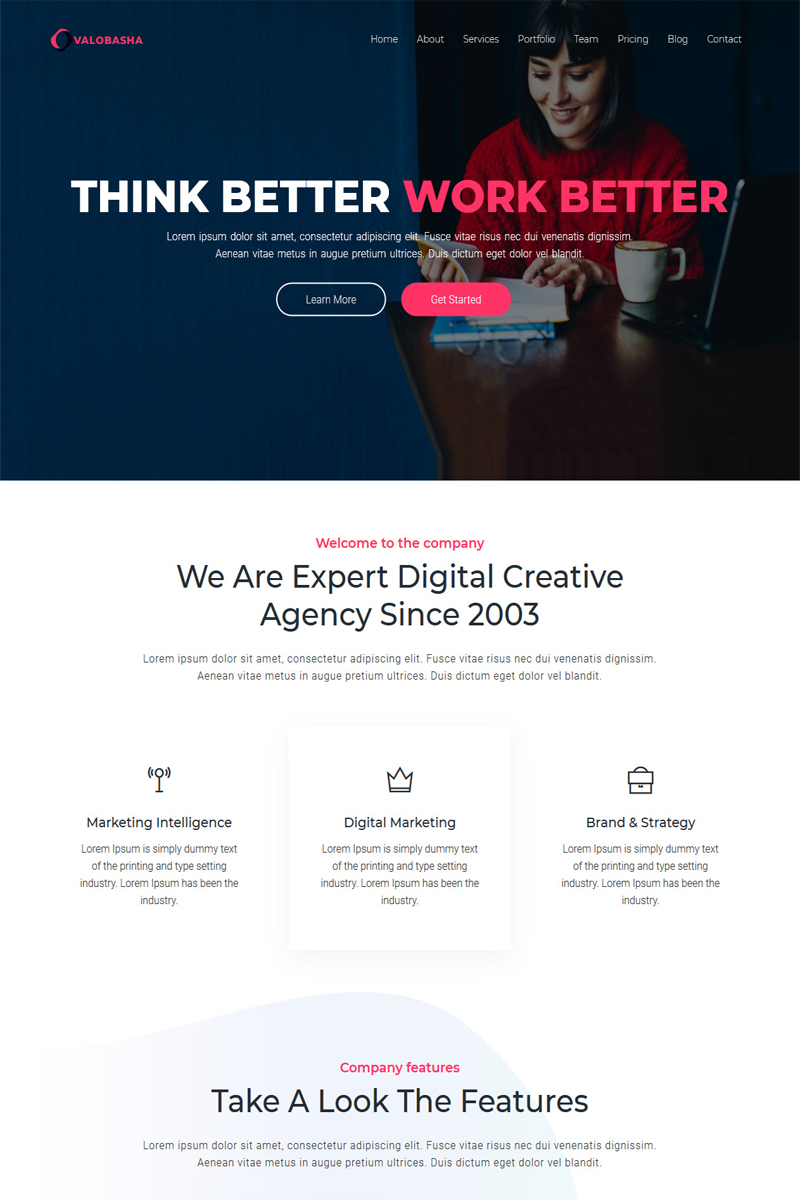 Valobasha - One Page Parallax Landing Page Template
