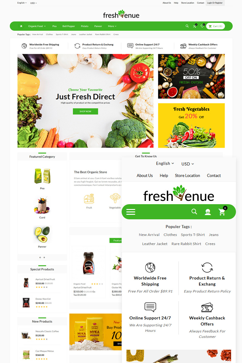 Grocery Natural Fresh Store OpenCart Template