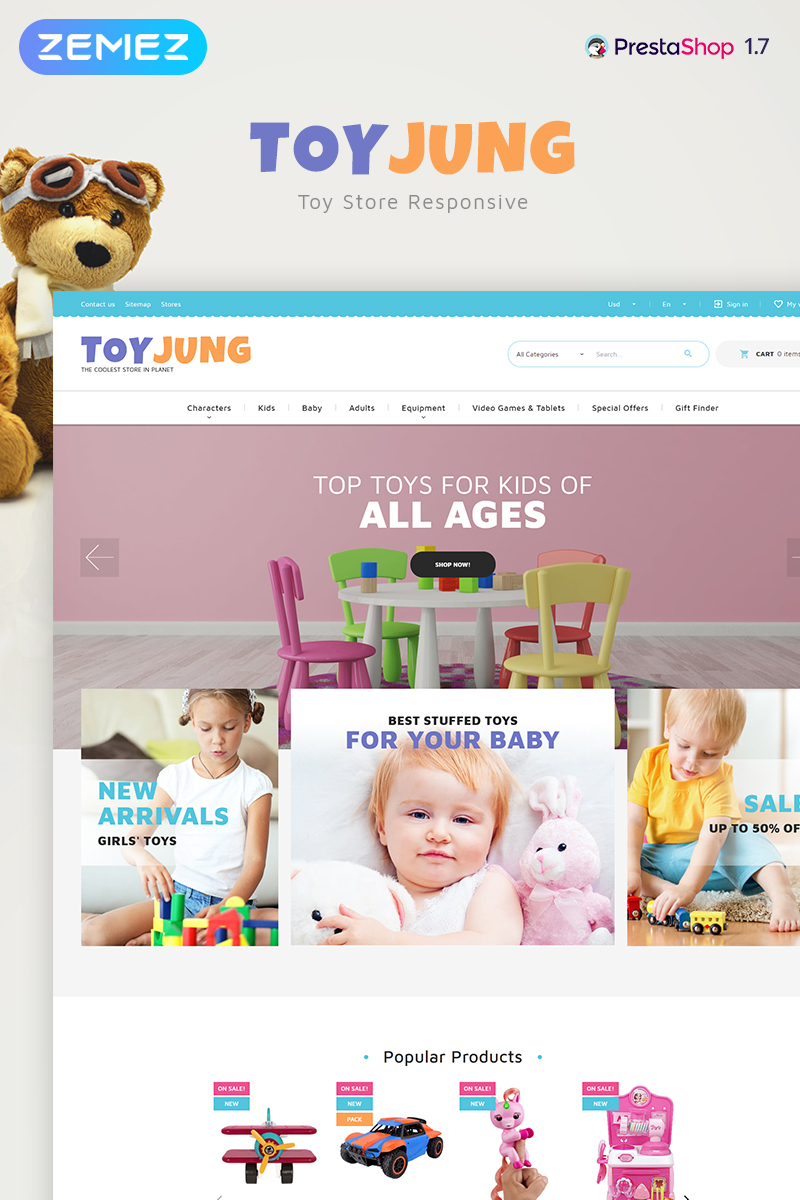 ToyJung - Plaything Store Bootstrap Ecommerce Clean PrestaShop Theme
