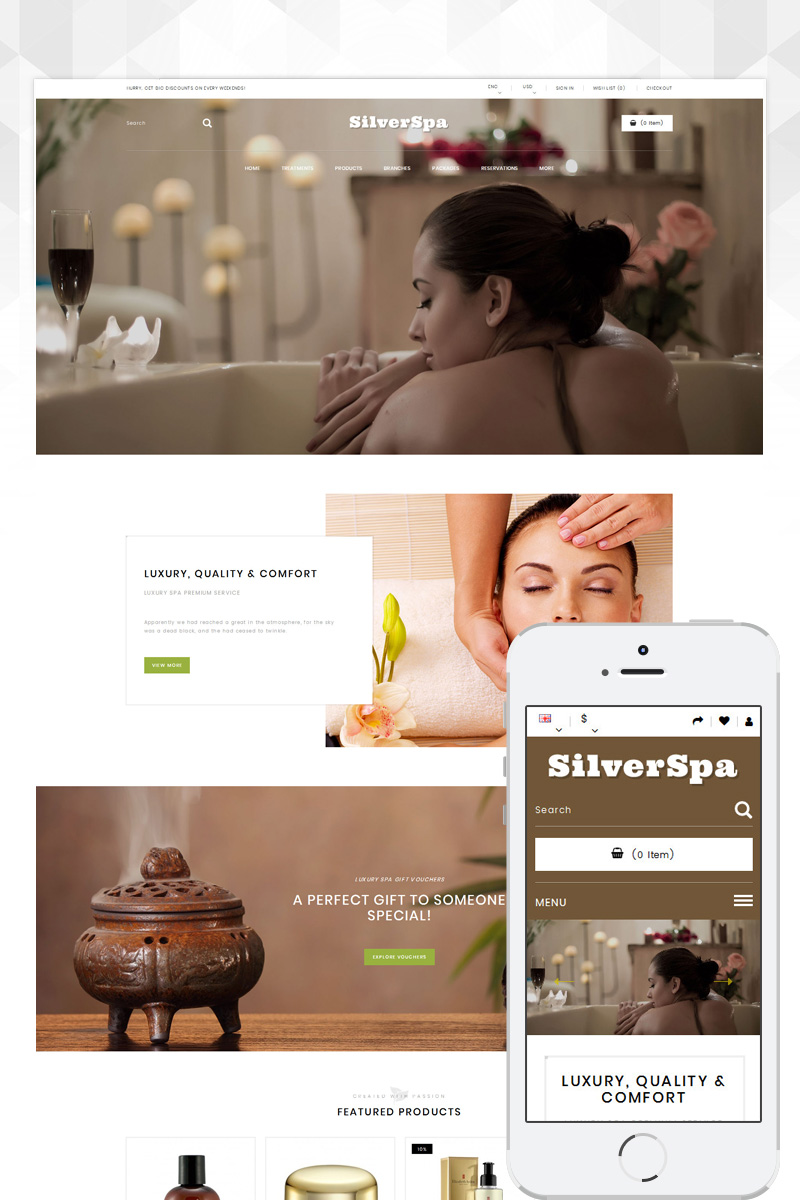 Silver Spa Store OpenCart Template