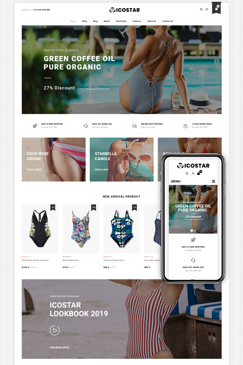 Icostar - Lingerie and Swimming clothes WooCommerce Theme