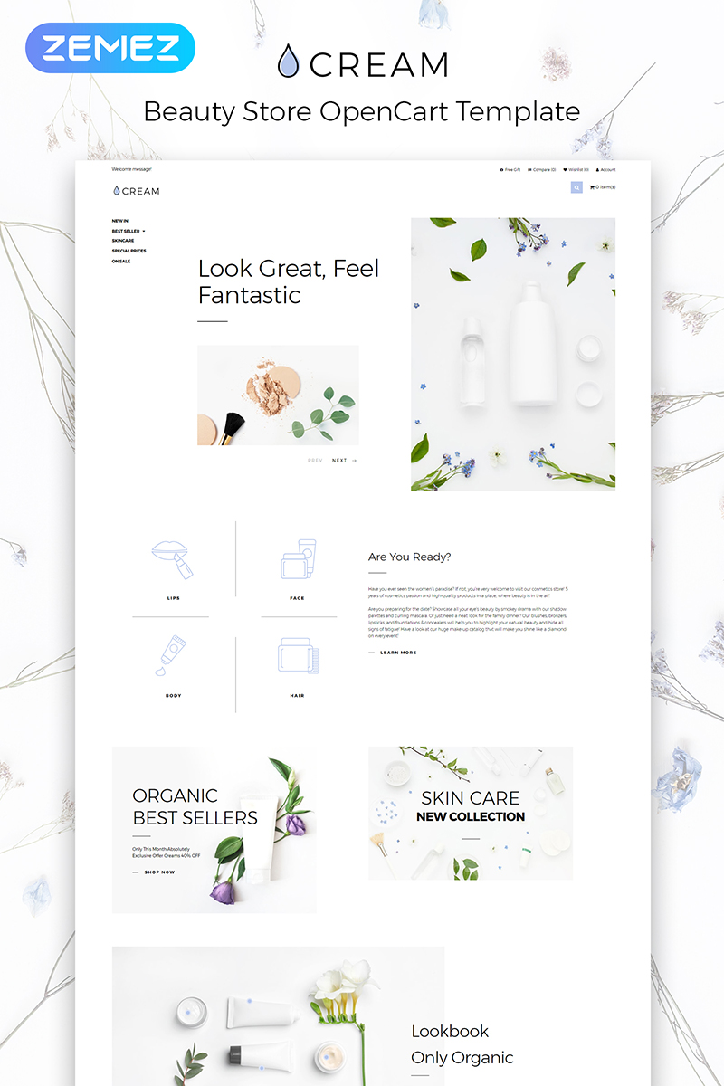 Cream - Beauty Supply eCommerce Clean OpenCart Template