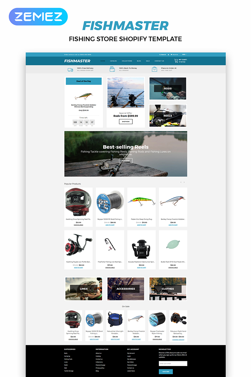 Fishmaster - Fishing Store Multipage Modern Shopify Theme
