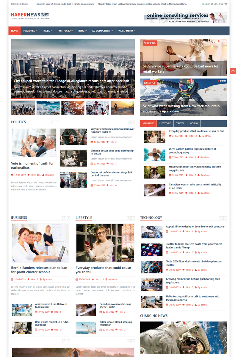 Habernews News and Magazine Joomla Template