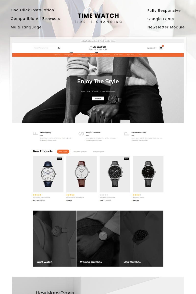 Time Watch Store OpenCart Template