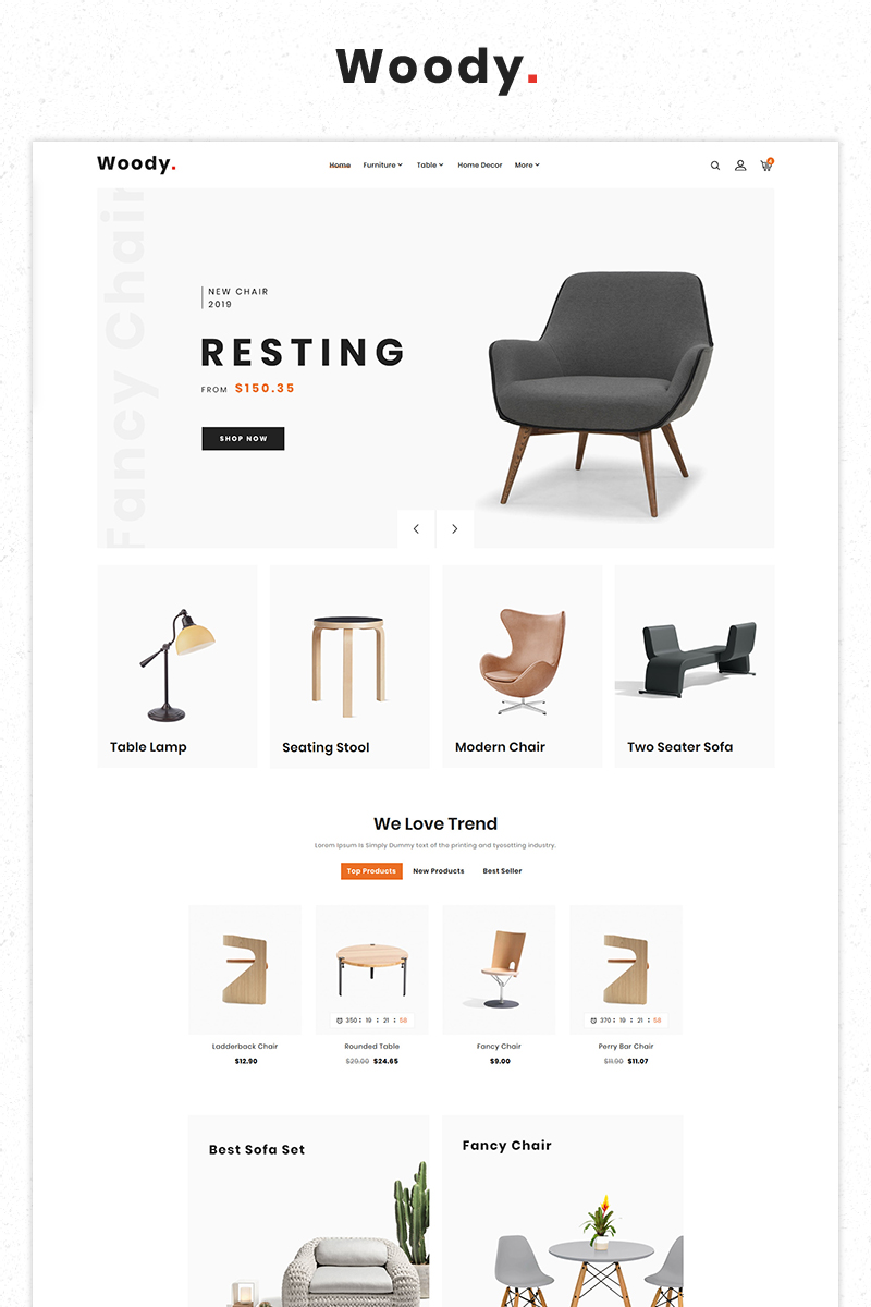 Woody Furniture Morden Responsive Store PrestaShop Theme