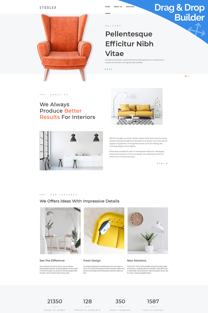 Stoolex - Interior Decoration Moto CMS 3 Template