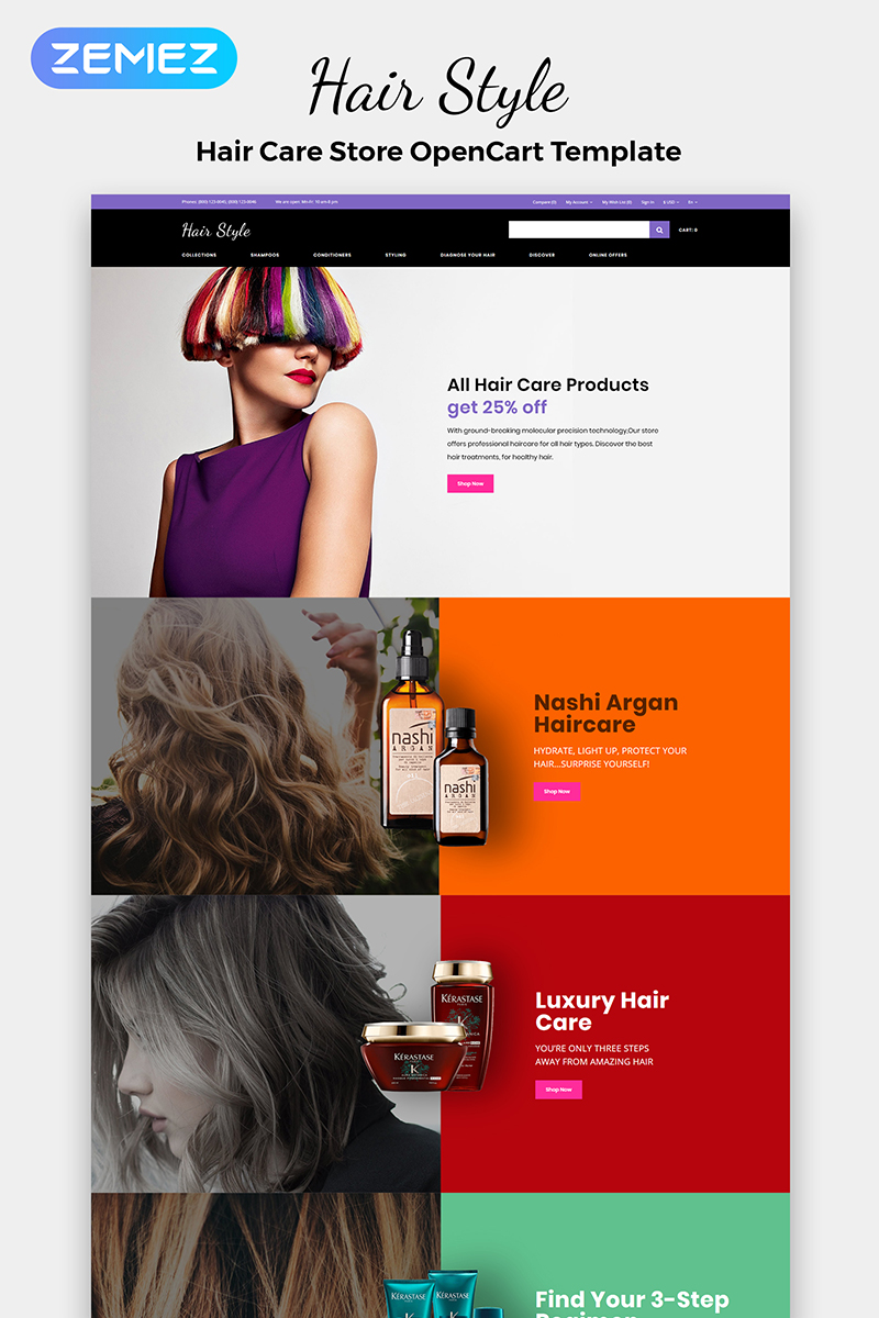 Hair Style - Beauty Store Multipage Creative OpenCart Template