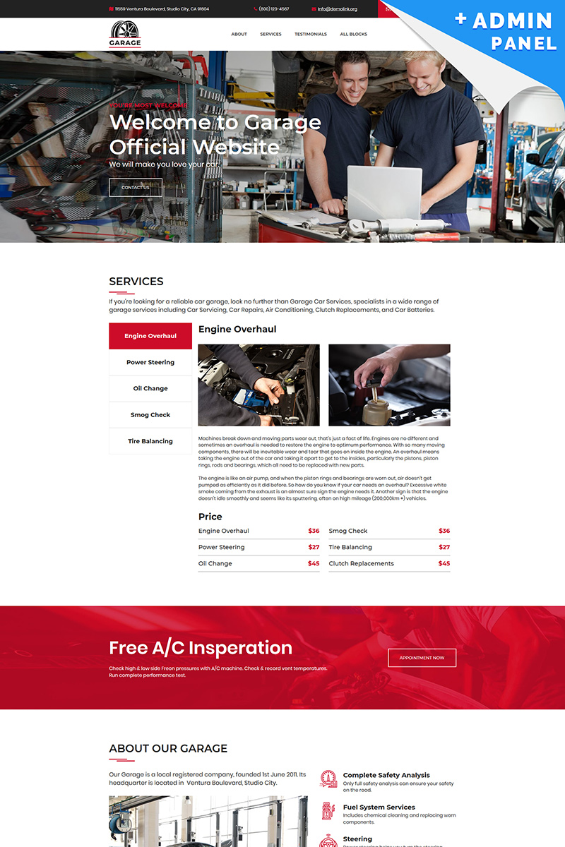 Car Garage Landing Page Template