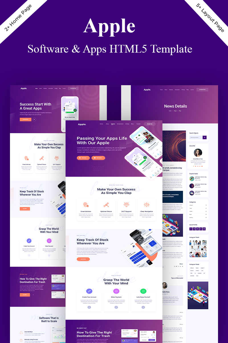 Apple- App & Software Landing Page Template