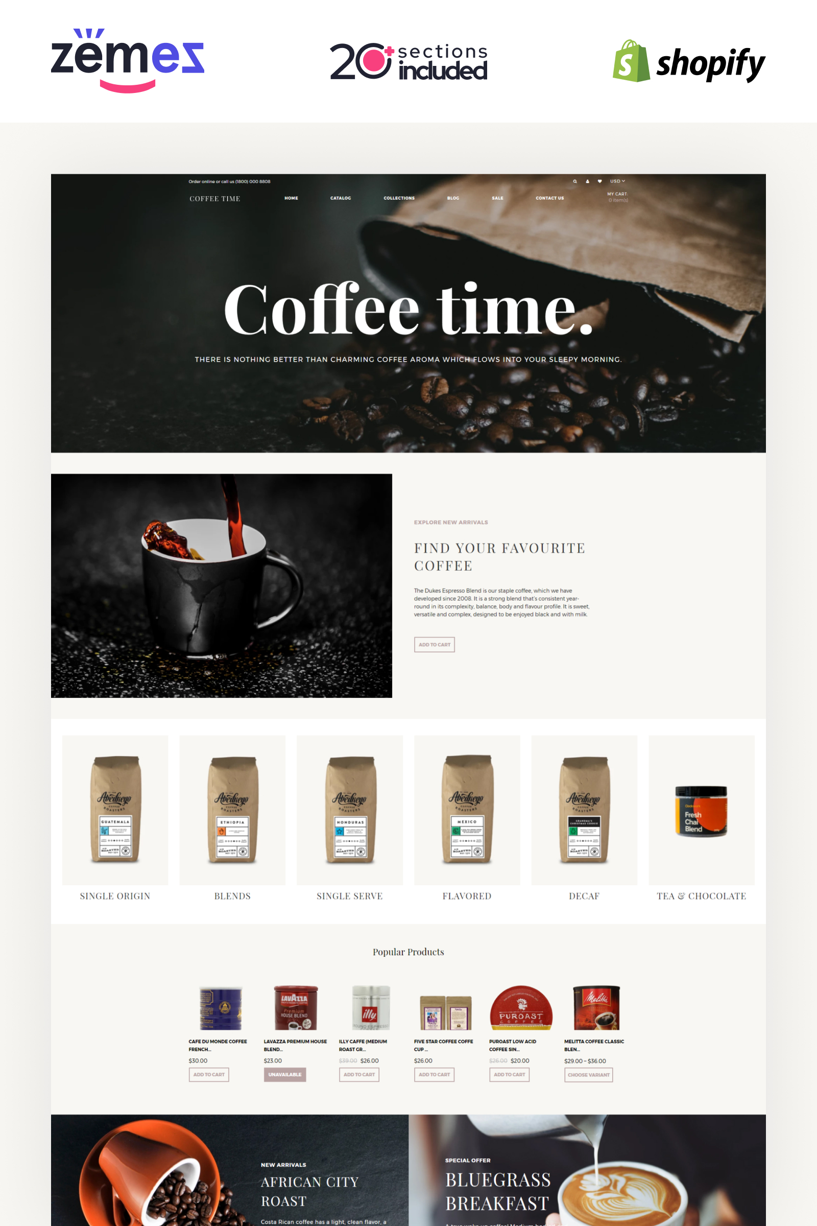 Coffee Time - Coffee Store eCommerce Elegant Shopify Theme