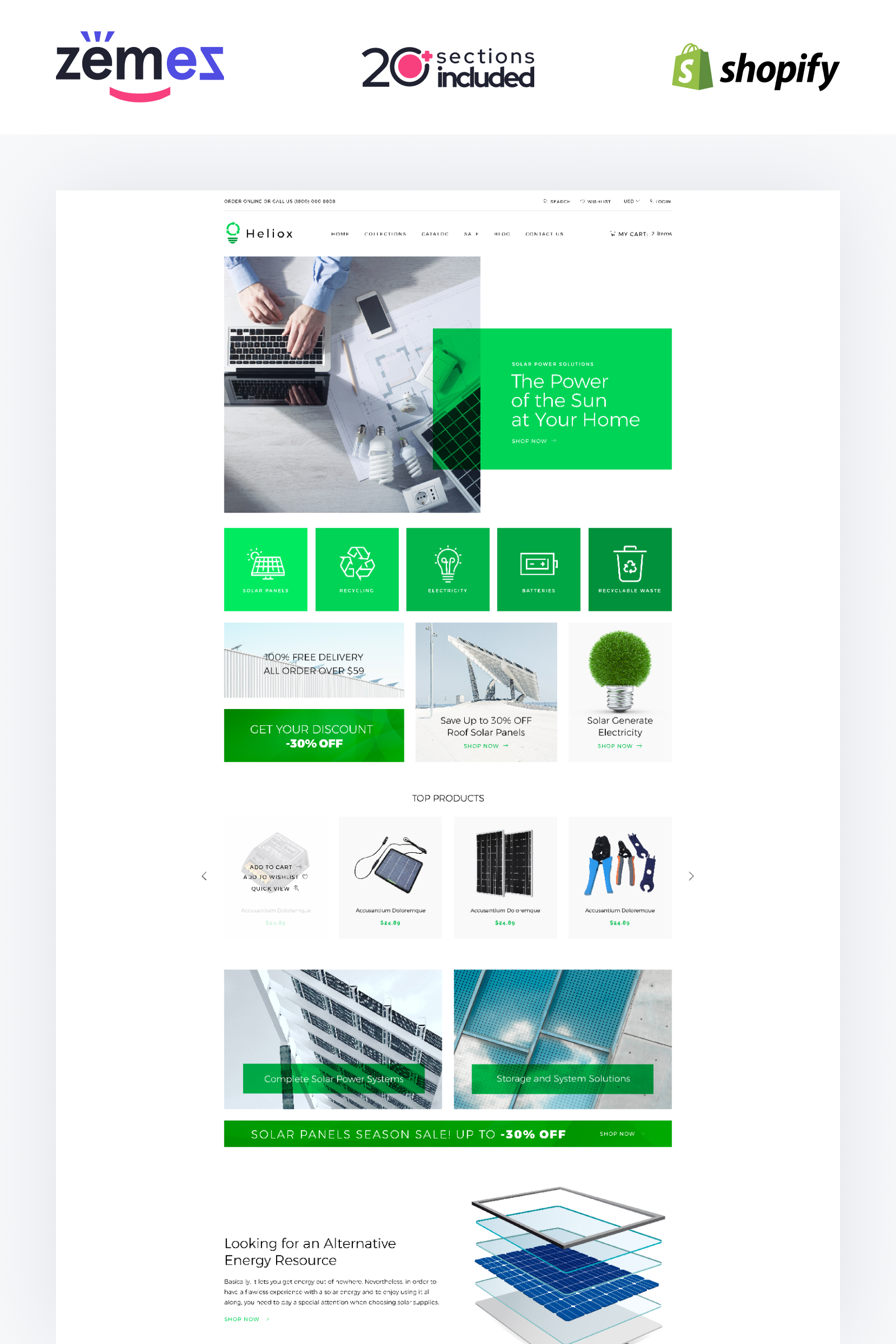 Helios - Solar Energy eCommerce Modern Shopify Theme