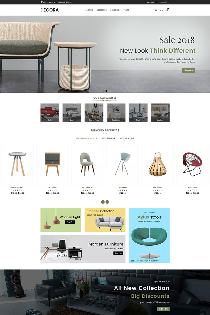 Decora Furniture Store OpenCart Template