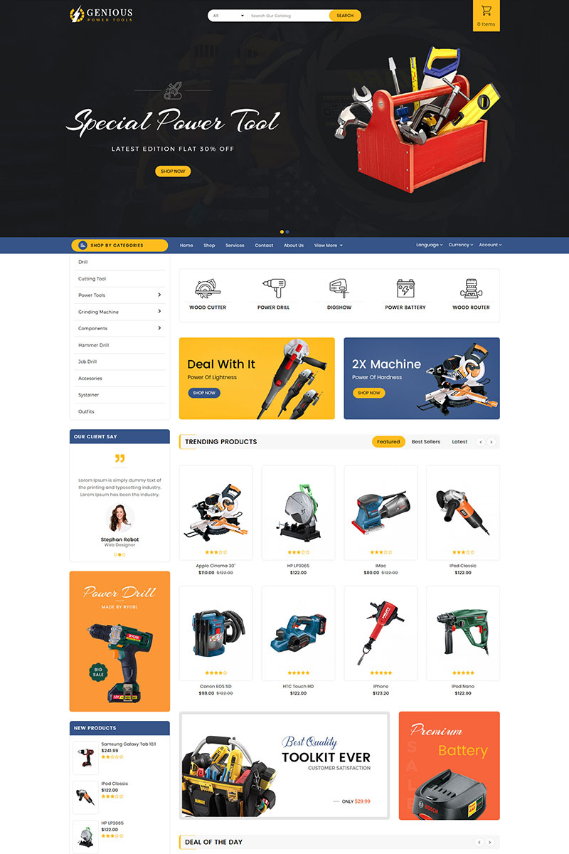 Genious Power Tools OpenCart Template