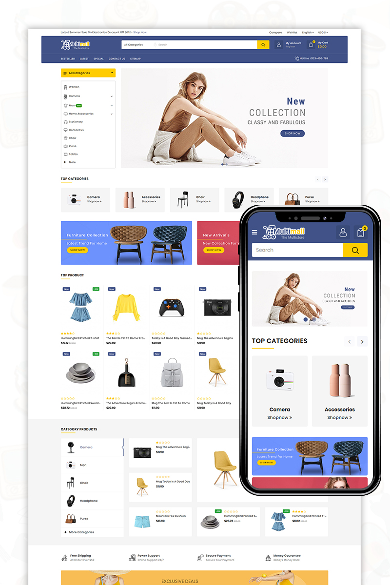Multimall - Fashion 3 Store OpenCart Template