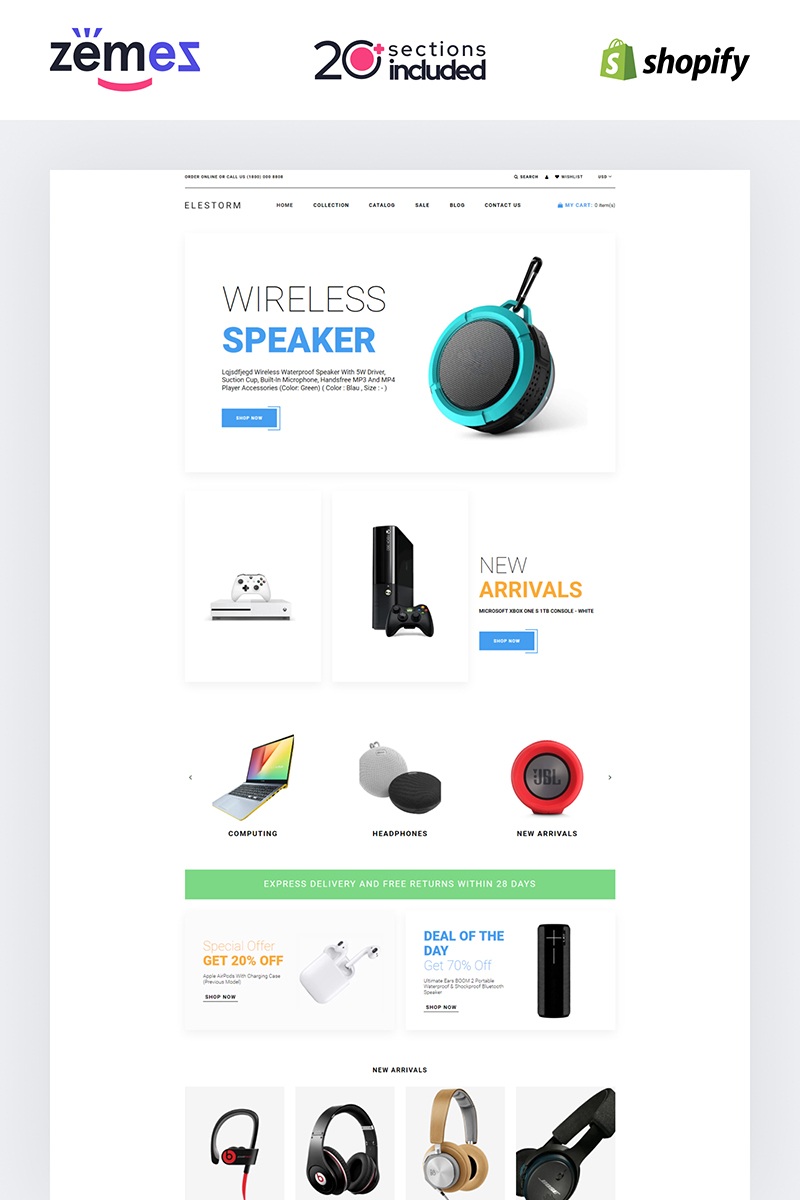 Elestorm - Electronics Store eCommerce Clear Shopify Theme