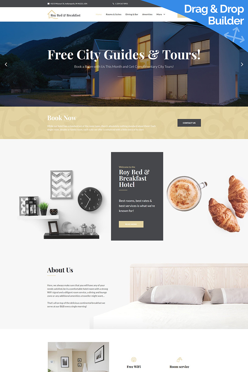 Roy Bed & Breakfast - Hotel Moto CMS 3 Template