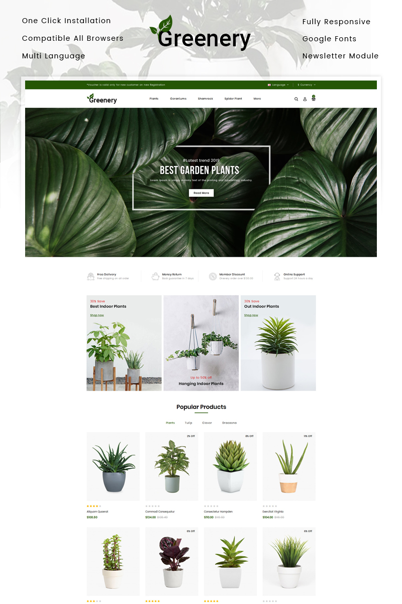 Greenery - Plant Store OpenCart Template
