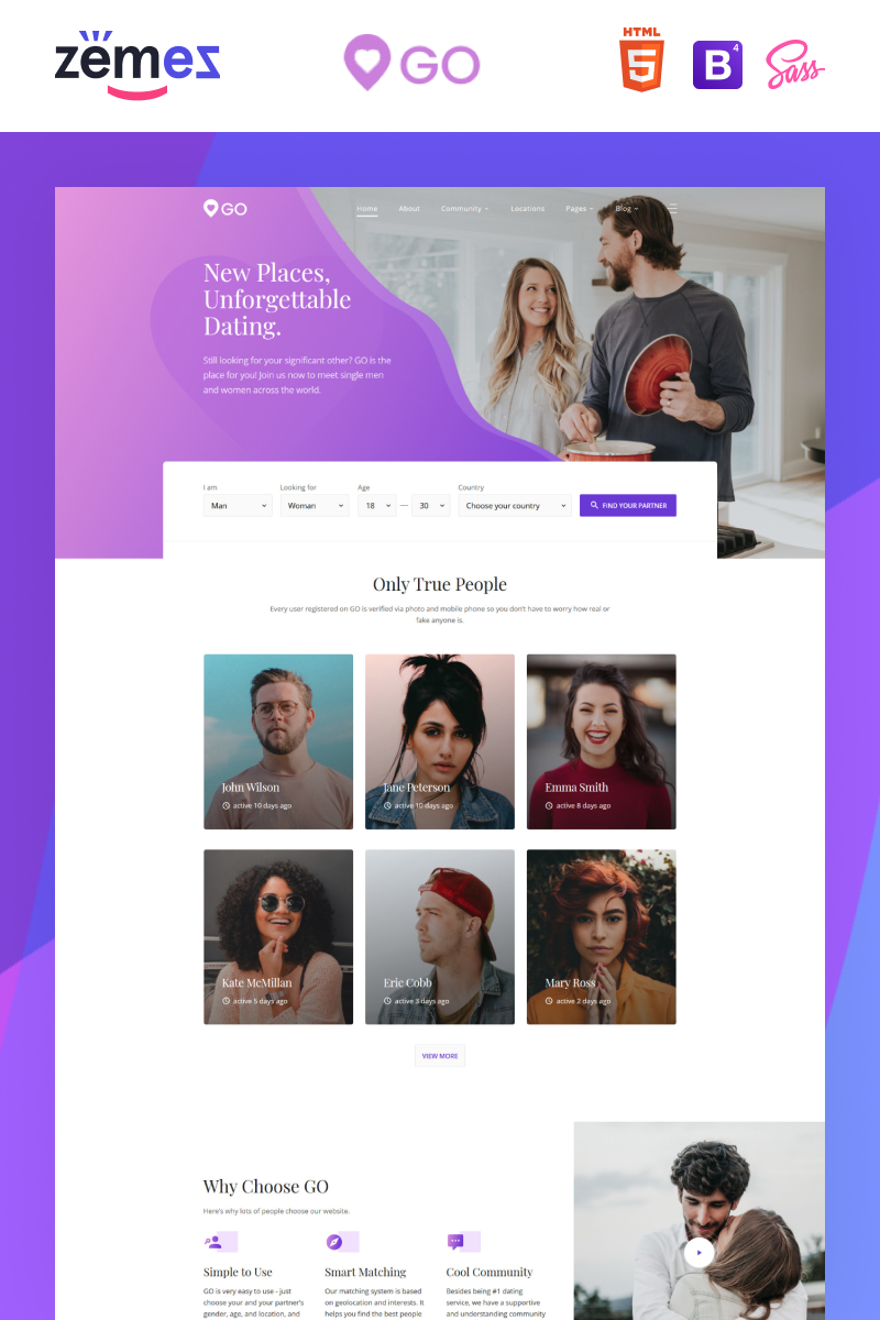 GO - Dating Agency Elegant Multipage HTML Website Template