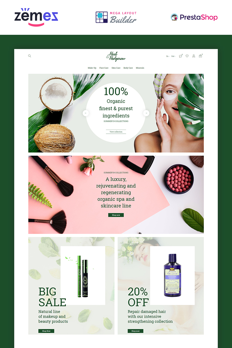 Herb and Hedgerow - Organic Cosmetics Store Bootstrap Clean Ecommerce PrestaShop Theme