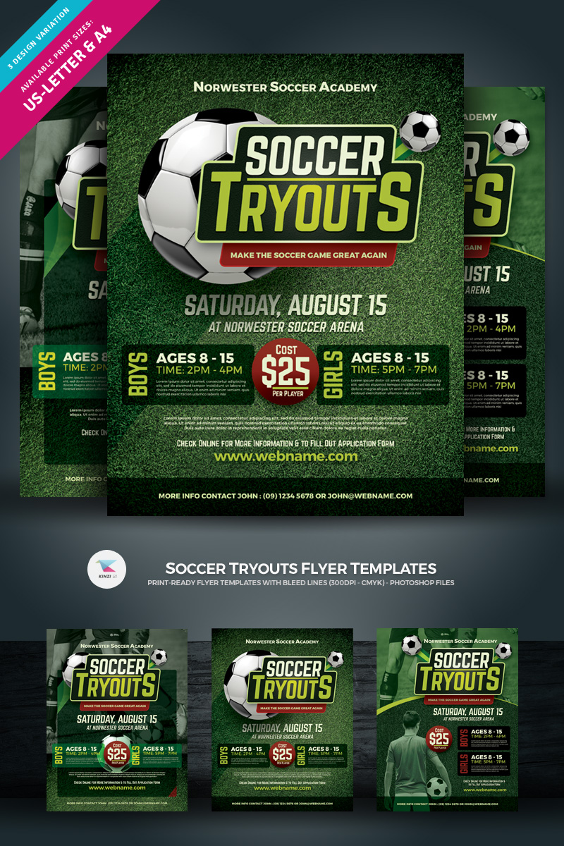 Soccer Camp or Tryouts Flyer Template