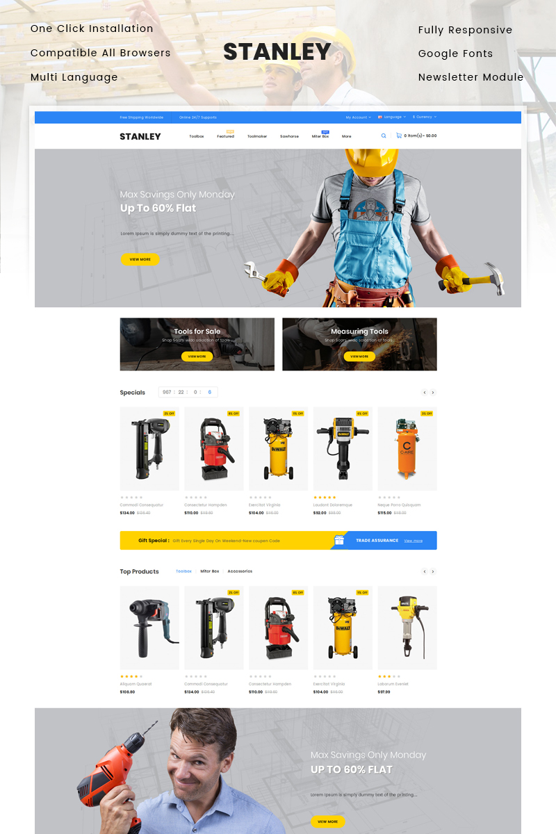 Stanley - Tools Hardware Store OpenCart Template