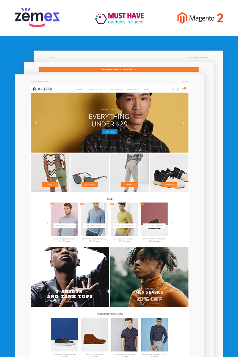 Janeerigo - Men's Fashion Clean Stylish Magento Theme