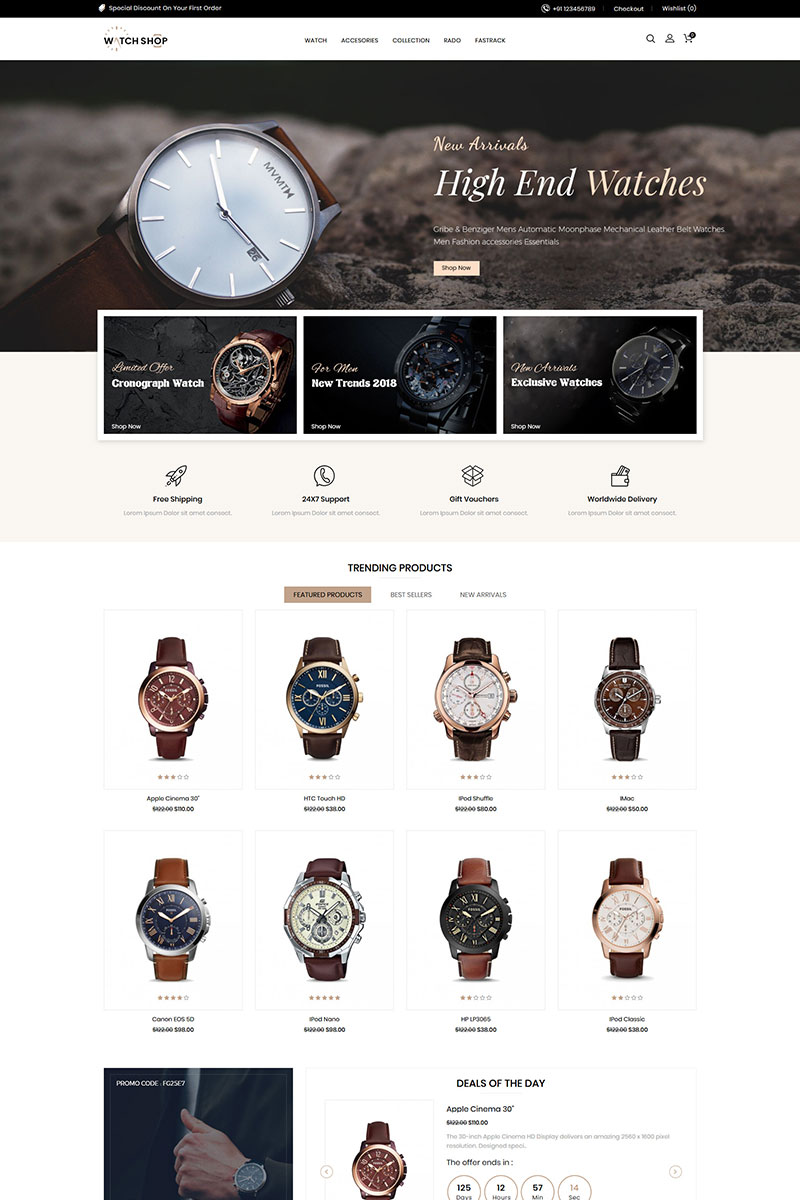 Watch And Accessories Store OpenCart Template
