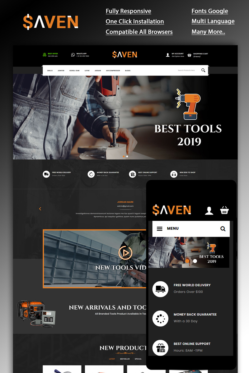 Saven - Tools Part OpenCart Template