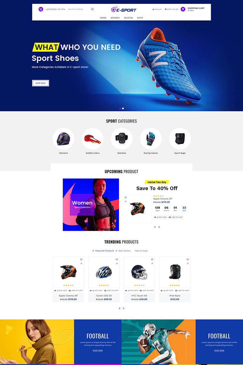 Esport Accessories Store OpenCart Template