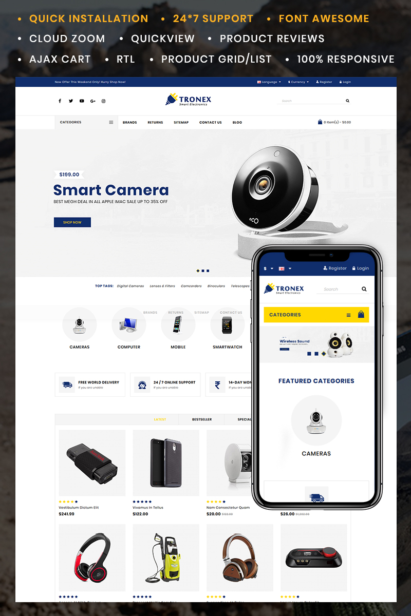 Tronex Electronics Store OpenCart Template