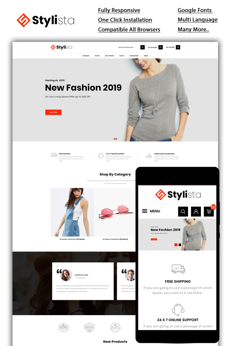 Stylista - Fashion Store OpenCart Template