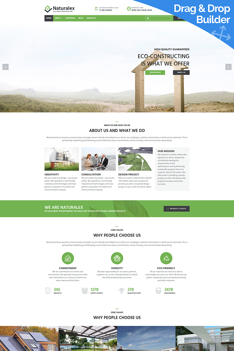 Naturalex - Construction Moto CMS 3 Template