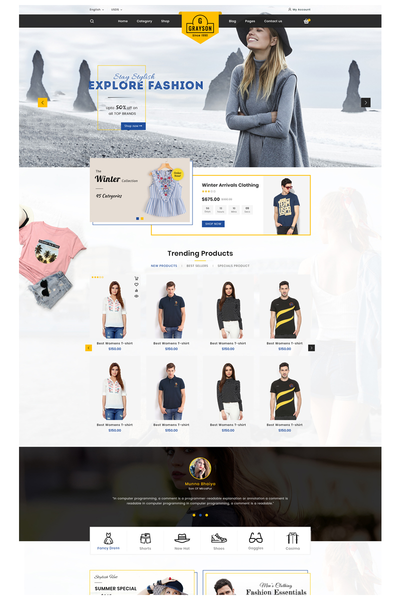 Gray_fashion OpenCart Template
