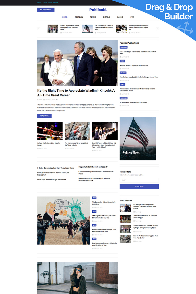 Publicon - Newspaper Moto CMS 3 Template