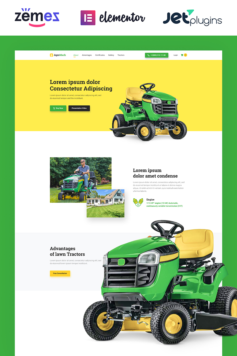 AgroMach - Agricultural Machinery with the Online Store WooCommerce Theme