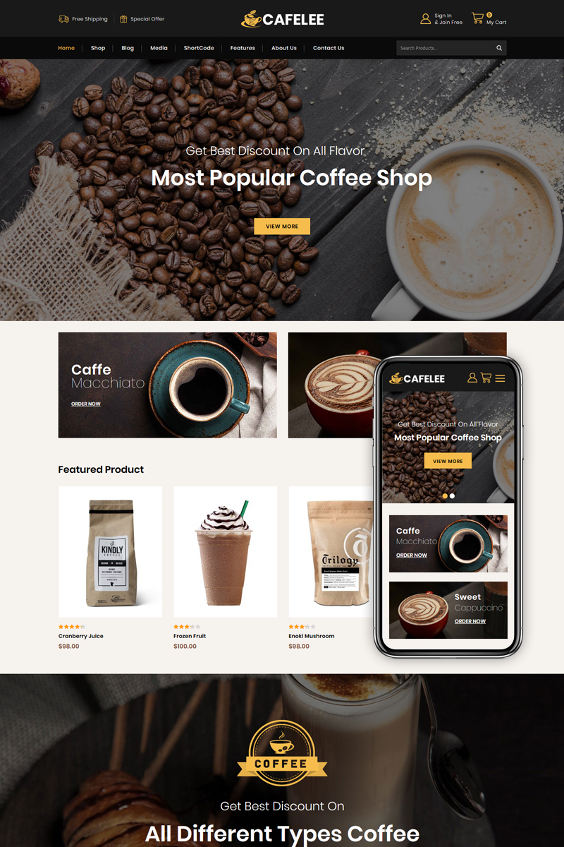 Cafelee - Food and Restaurant Store WooCommerce Theme