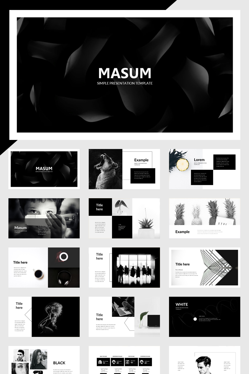 Masum Black And White PowerPoint Template