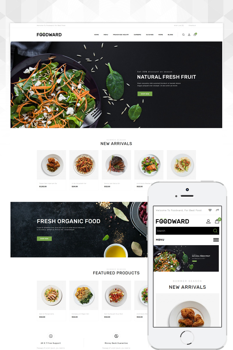 Foodward - Restaurant Store OpenCart Template