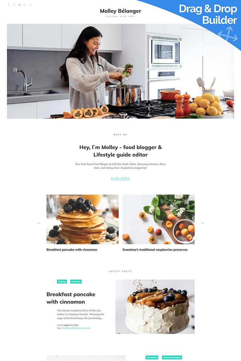 Molley Belanger - Food blog Moto CMS 3 Template