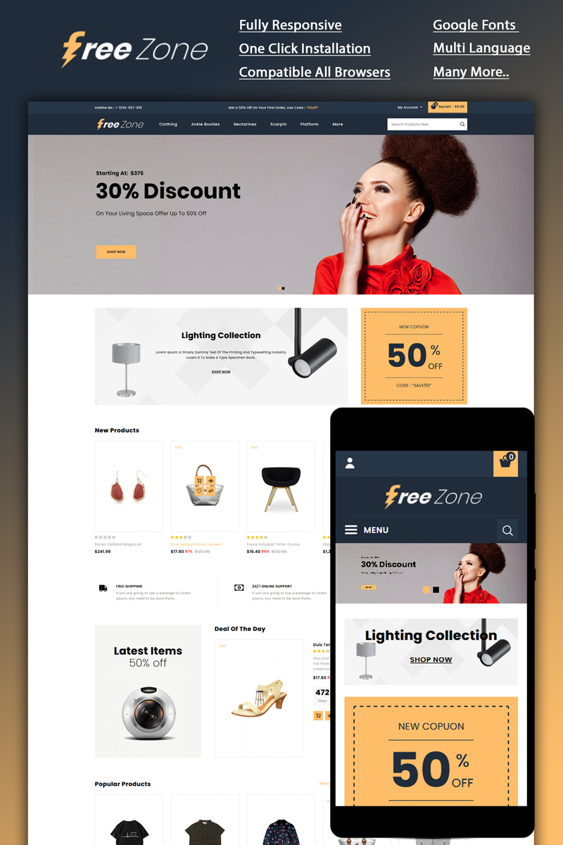 Freezone - Multi Store OpenCart Template