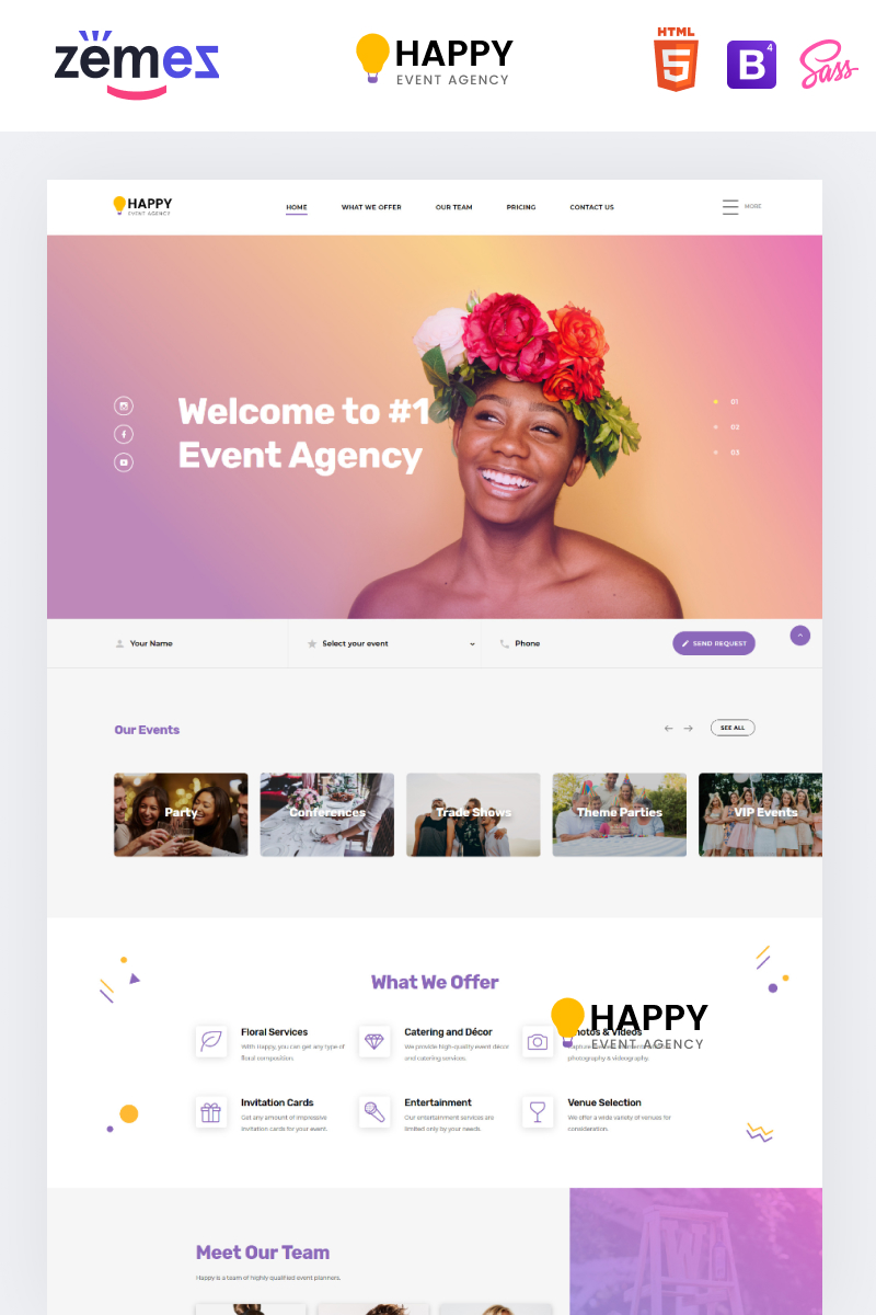 Happy - Event Agency HTML Landing Page Template