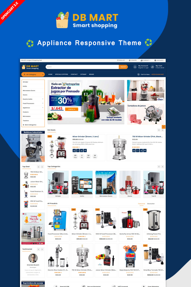 DB Mart Home Applience OpenCart Template