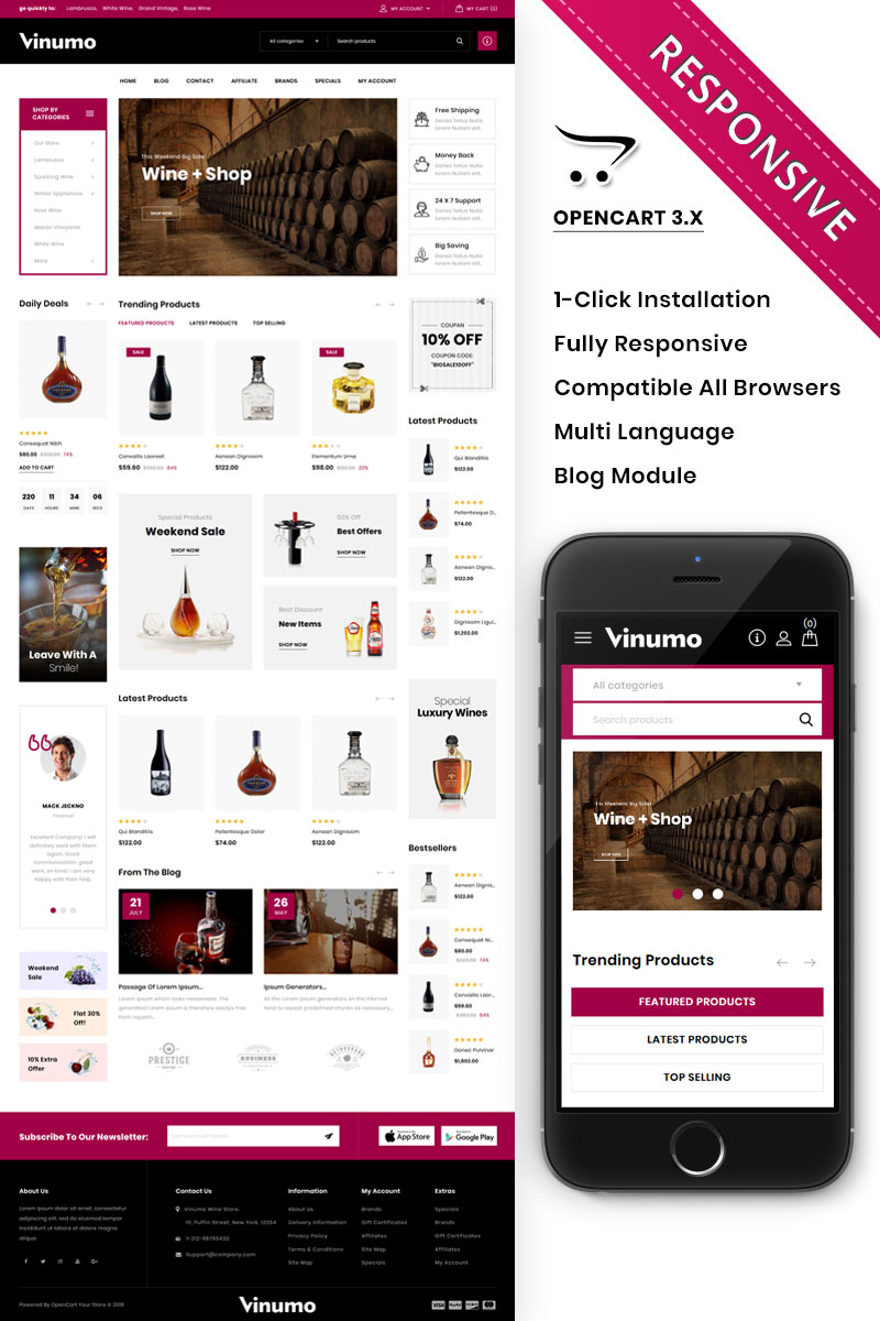 Vinumo - The Wine Store OpenCart Template