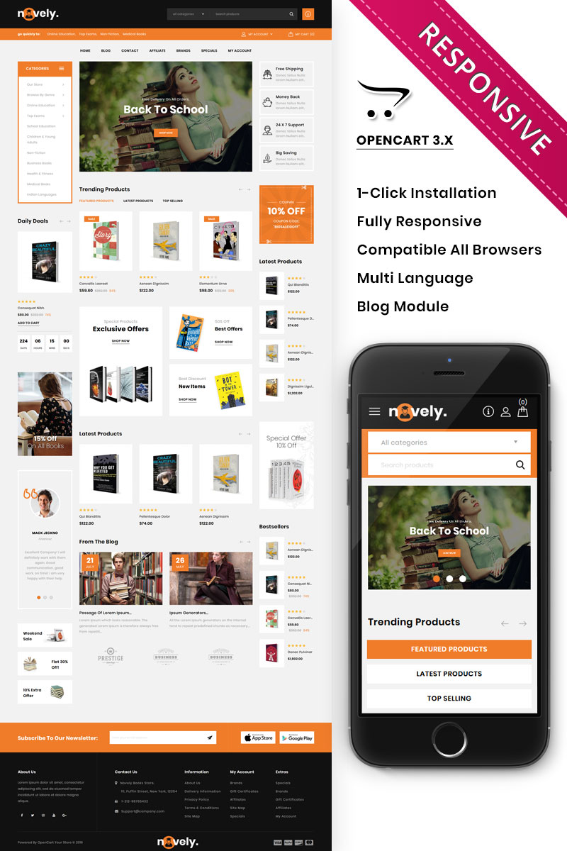 Novely - The Book Store OpenCart Template