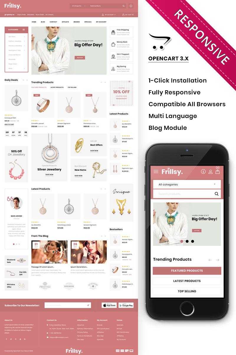 Frillsy - The Jewelry Store Premium OpenCart Template