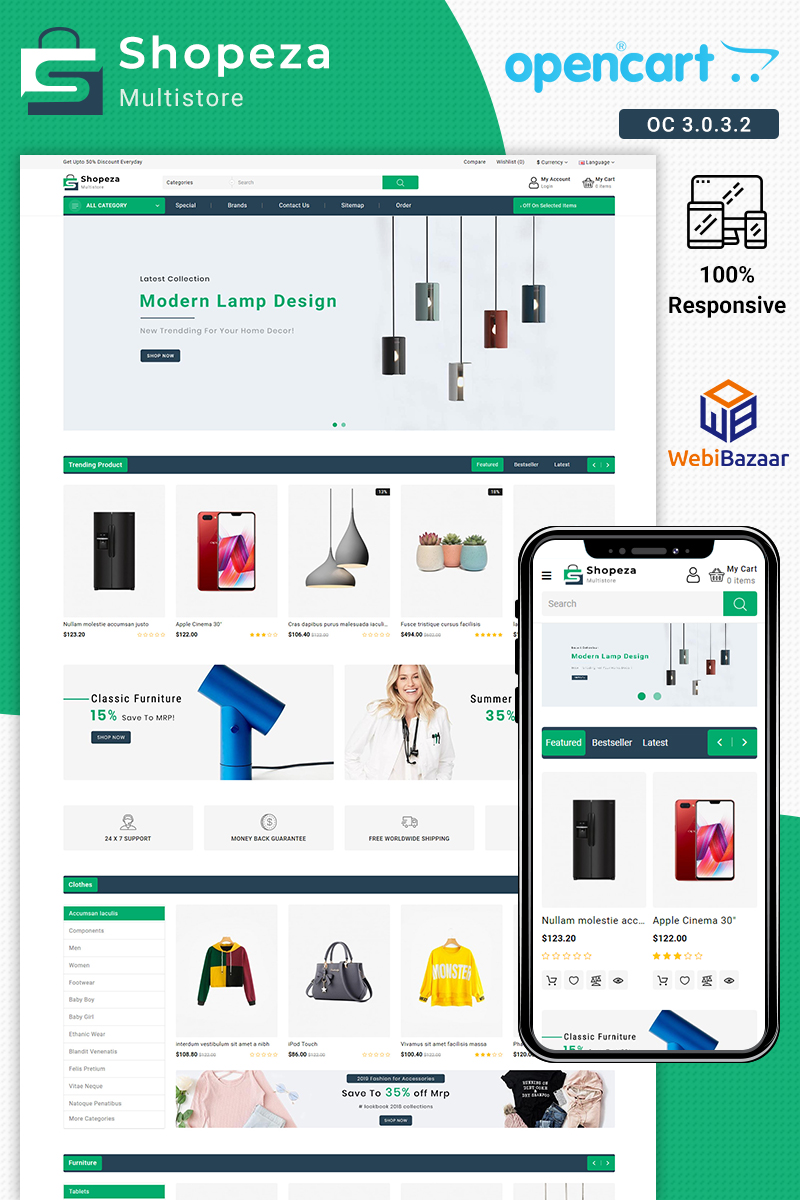 Shopeza Best ELectronic Theme OpenCart Template