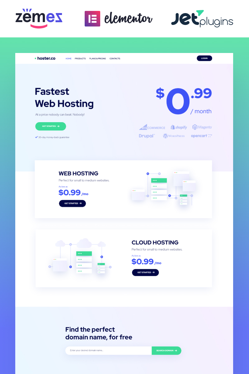 Hoster.co - Web Hosting Template for Providers Company with WordPress Elementor Theme